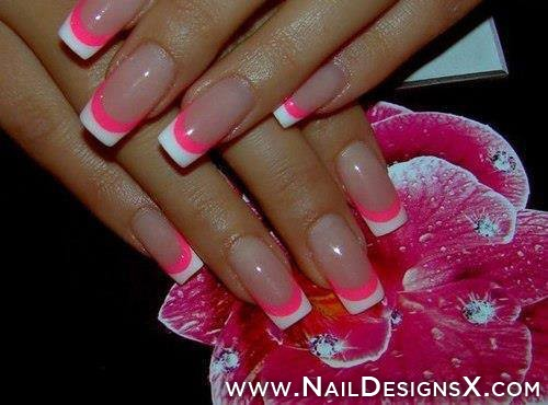 Wonderful White Tips With Pink Acrylic Nail Art Design