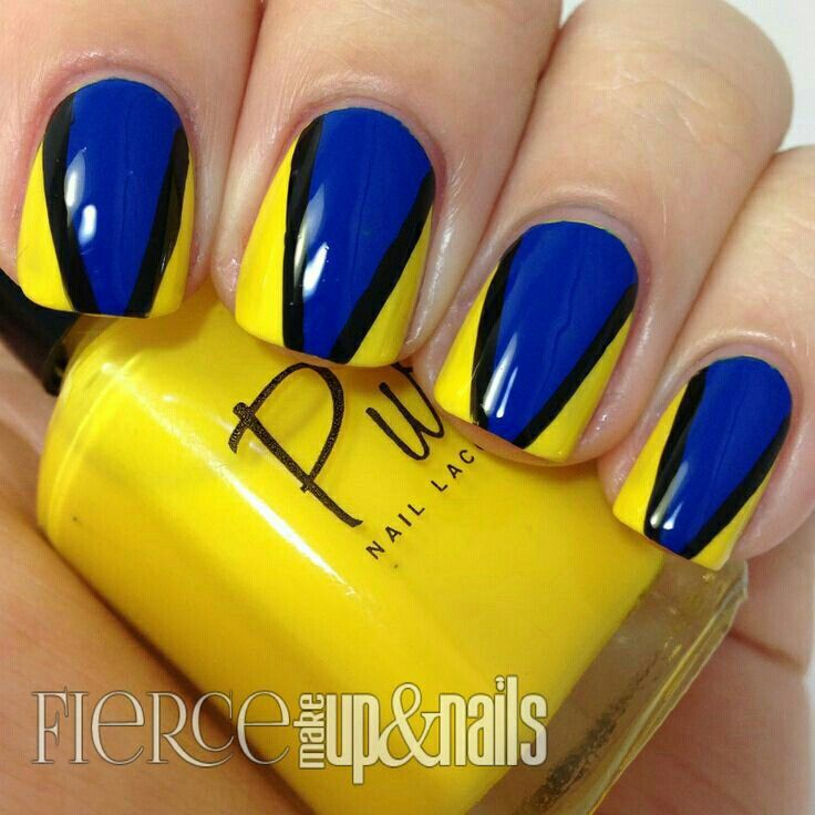 Wonderful Yellow And Blue Nails With Black Lines