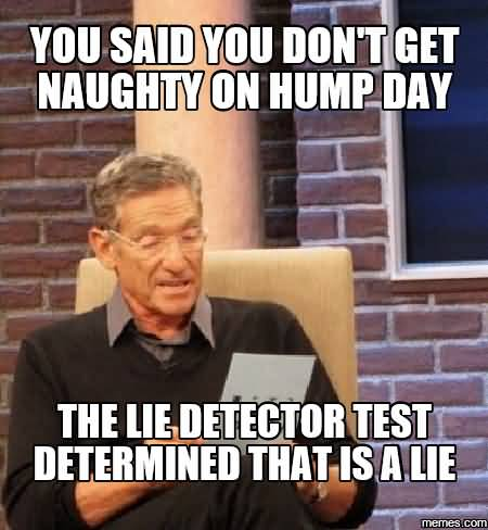 You Said You Don't Get Naughty On Hump Day The Lie Deflector Test Determined That Is A Lie Meme Photo