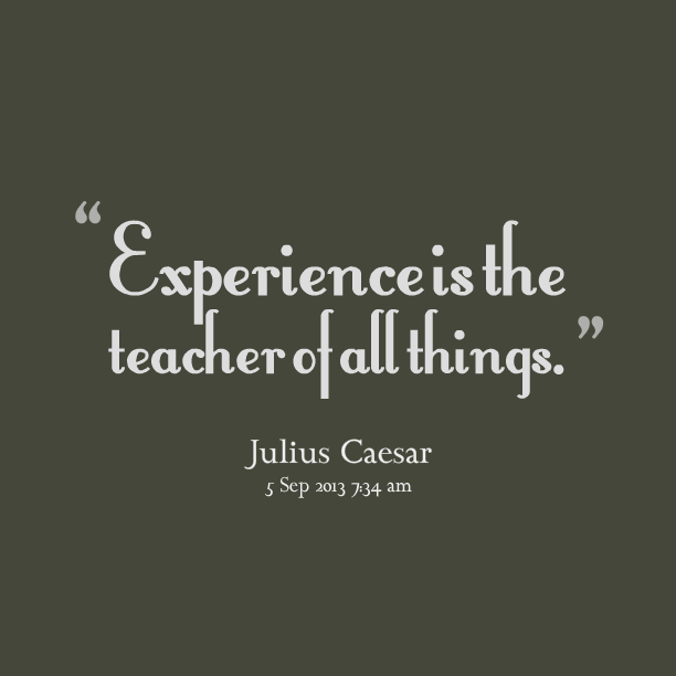 experience sayings experience is the teacher of all things.