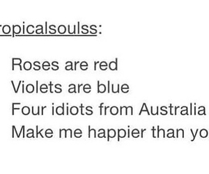 5Sos Quotes opicalsoulss roses are red violets are blue four idiots from Australia