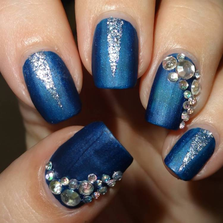 Amazing Blue And Silver Nails With Rhinestones