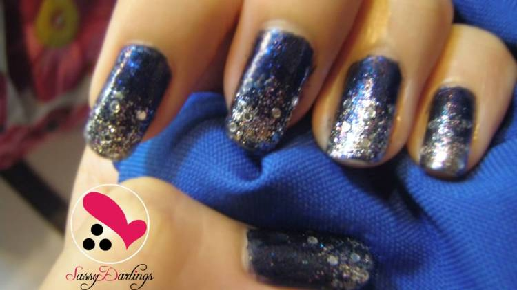 Amazing Blue Nails With Blue & Sparkling Tip