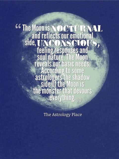 Astrology Quotes the moon is nocturnal and reflect