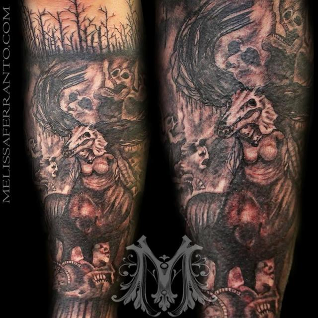 Awesome Hell Tattoo On Leg For Boys