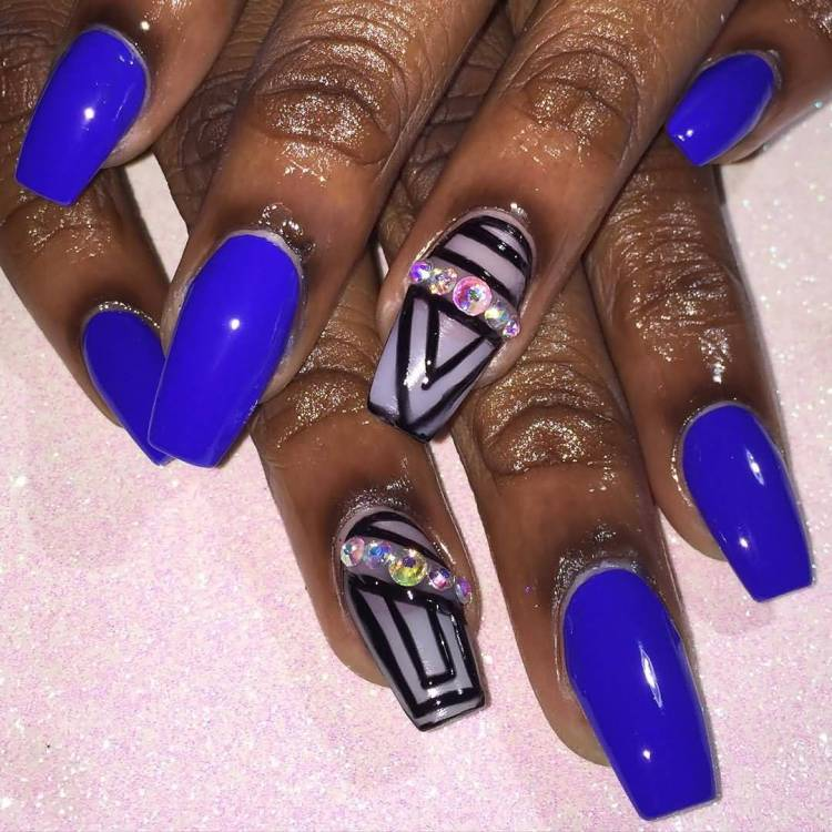 Beautiful Royal Blue Nails With Black One