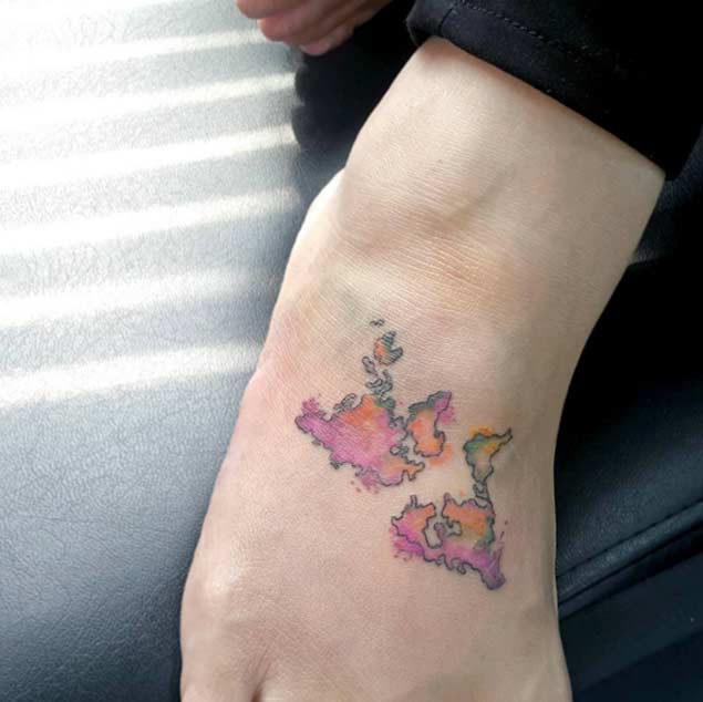 Brilliant World Map Tattoo On Foot for girls