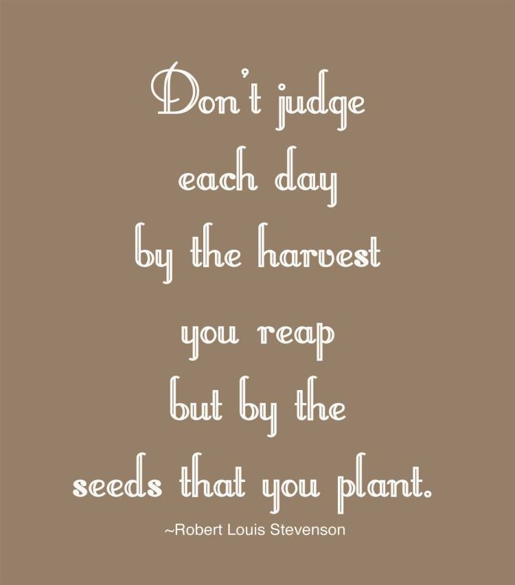 Business Quotes don't judge each day by the harvest you reap but by the seeds that you plant
