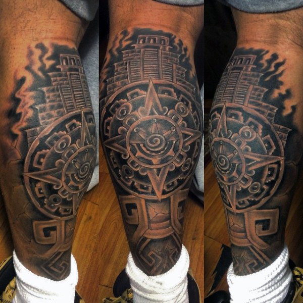 Cool Aztec Tattoo On Leg For Boys