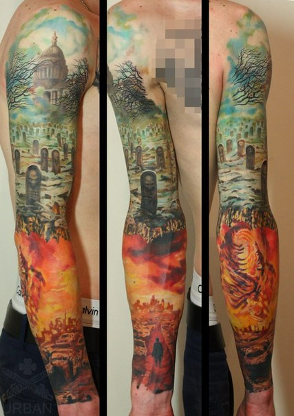 Crazy Hell Tattoo On Arm For Boys