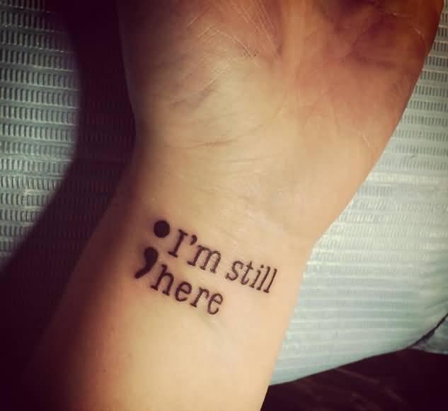 Creative Semicolon Tattoo Design On Arm For Boys