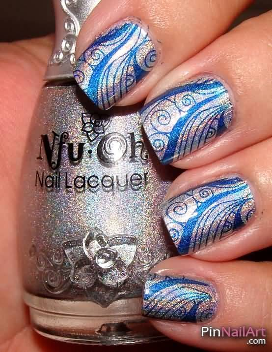 Cutest Blue And Silver Nails