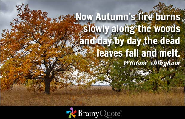 Day Quotes now autumn's fire burns slowly along the