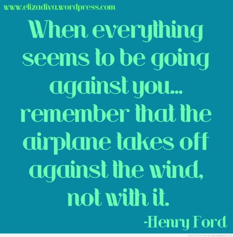 Determination sayings when everything seems to be going against you remember that the airplane takes off against the wind no`
