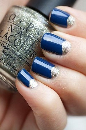 Eye Catching Blue Nails WIth Half Moon Silver Color