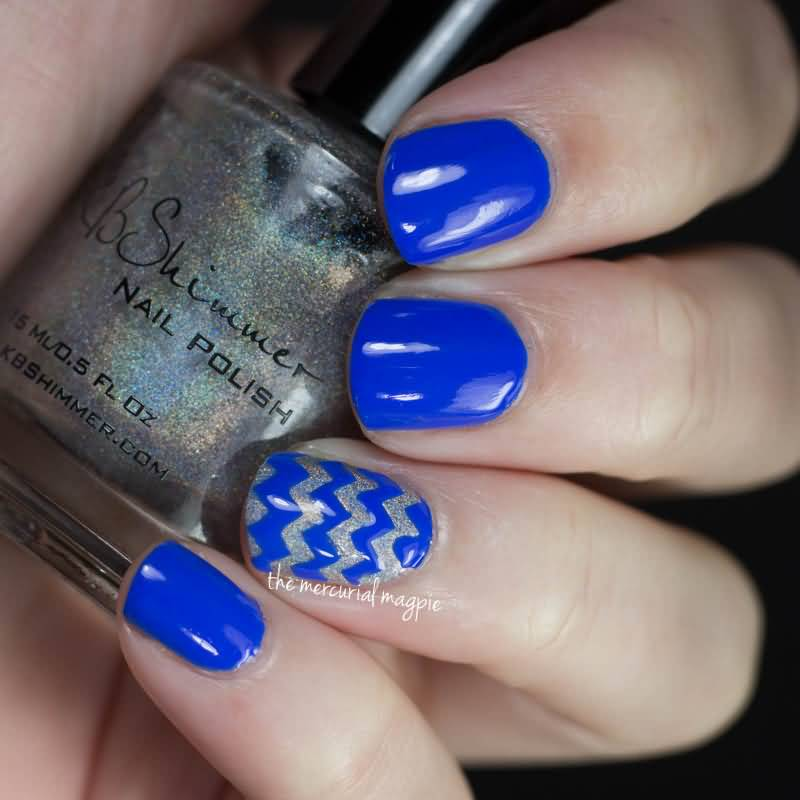 Fabulous Blue And Silver Nails With Lining