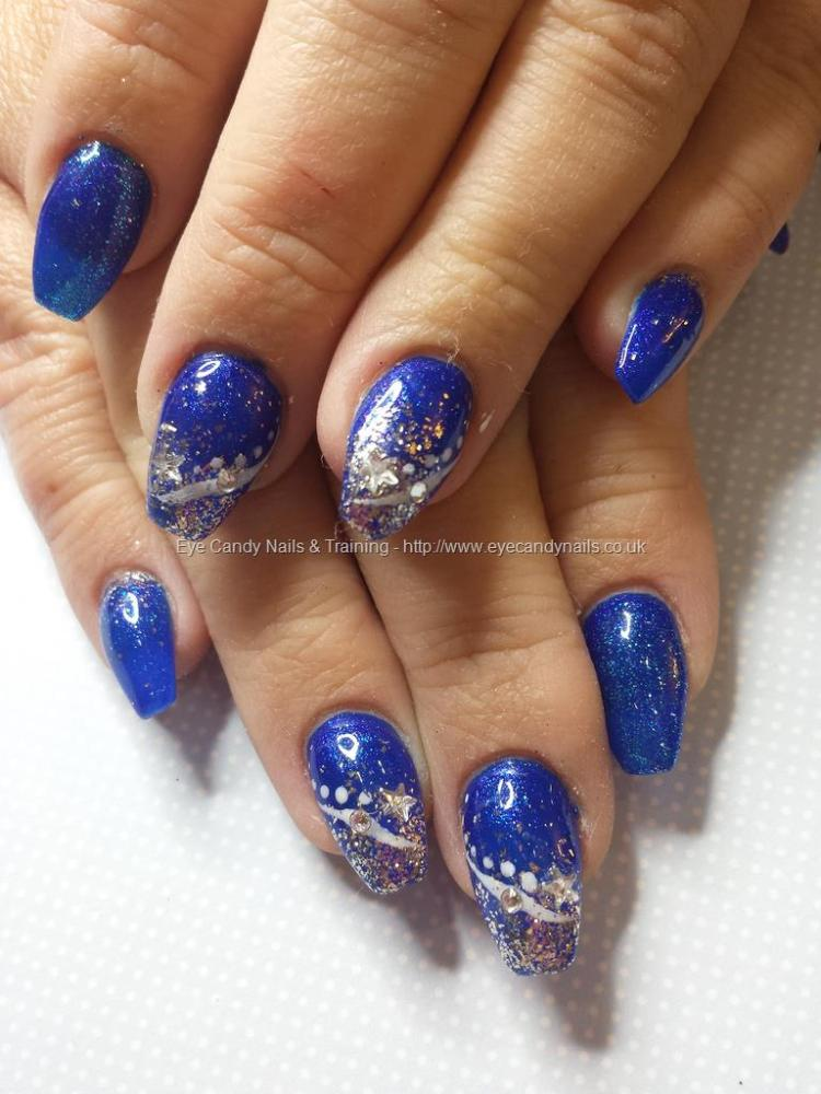 Fabulous Blue And Silver Nails With Silver One