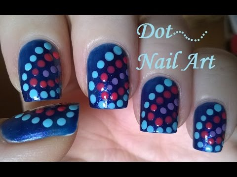 Fabulous Blue Nails With Doted Design