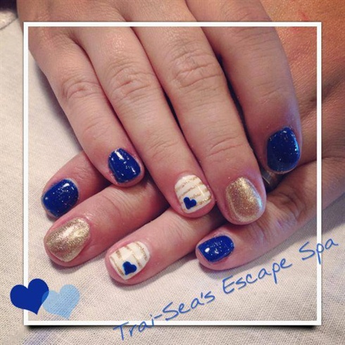 Fabulous Blue Nails With Heart Design