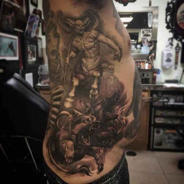 Famous Hell Tattoo on Ribs Side For Boys