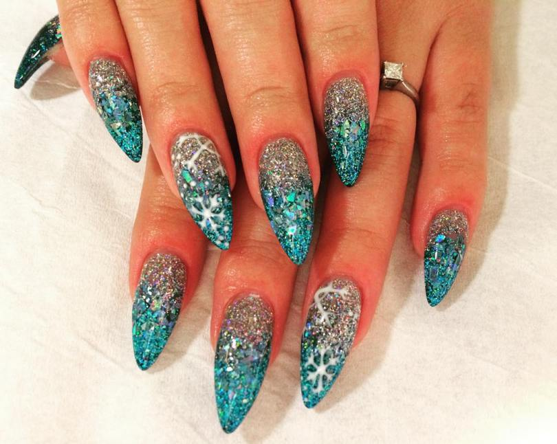 Fantastic Blue And Silver Nails With Shiny Paint