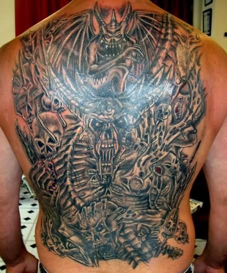 Fantastic Hell Tattoo For Full back tattoo