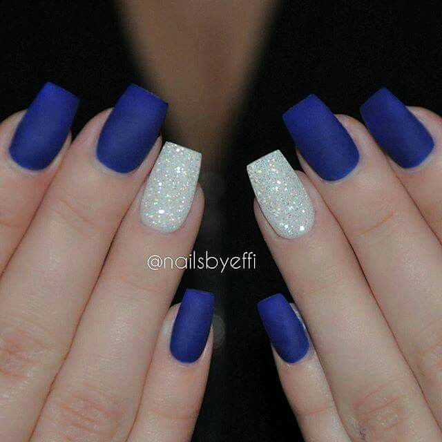Royal Blue Nails With Silver One