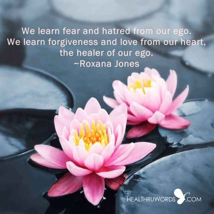 Healing Quotes we learn fear and hatred from our ego we learn forgiveness and love from our heart