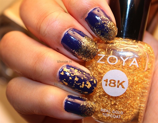 Incredible Blue Nails With Golden Paint