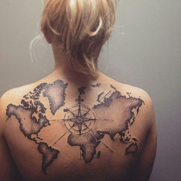 Innovative World Map Tattoo On Back for Girls