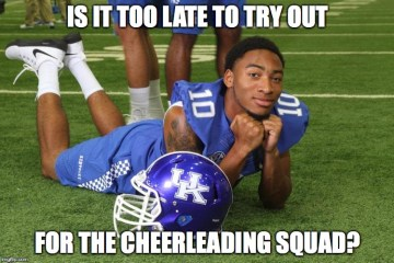 Is it too late to try out for the cheerleading squad Football Meme