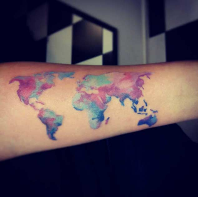 Marvel World Map Tattoo On Arm For Boys