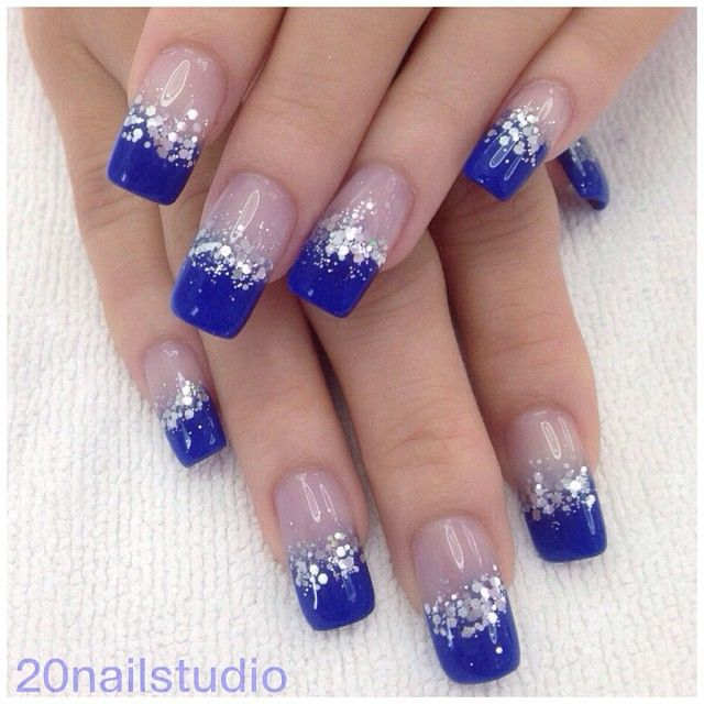 Mind Blowing Blue Nails With Sparkling Half Nails