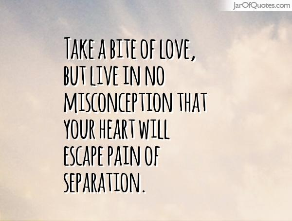 Misconception Quotes take a bite of love but live in no misconception that