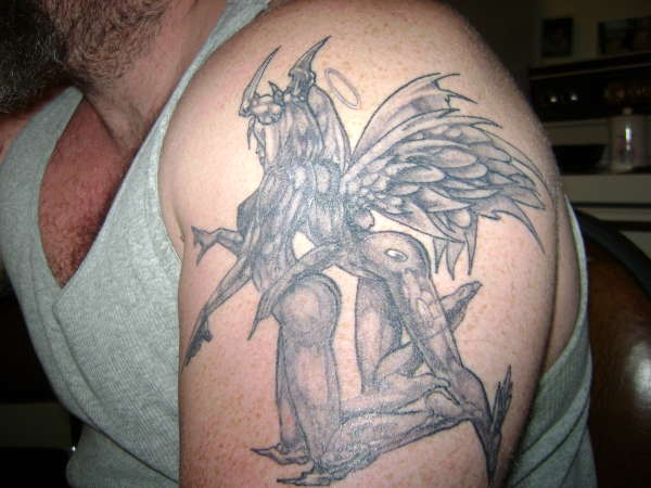 Nice Hell Tattoo On Shoulder For Men