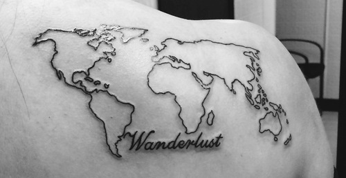 Nice World Map Tattoo On Shoulder For Women