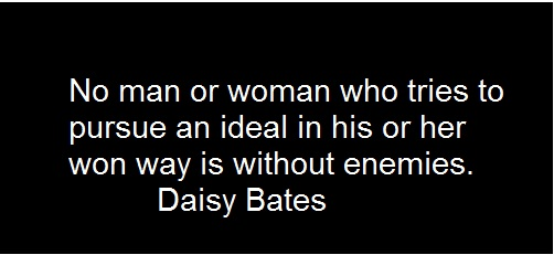 No Man Or Woman Who Tries To Pursue An Ideal In His Or Her Won Way Is Without Enemies. Daisy Gatson Bate