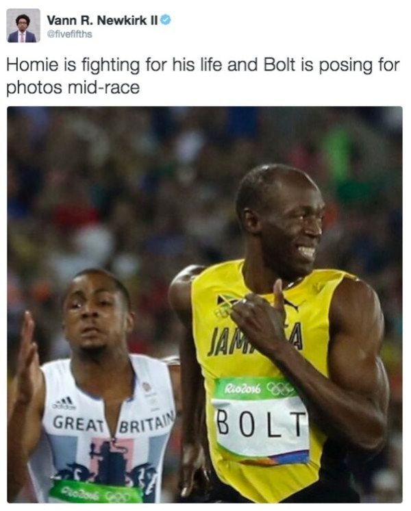 Olympics Meme homie is fighting for his life and bolt is posing for photos mid race