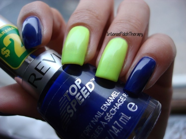 Perfect Blue Nails With Green Paint