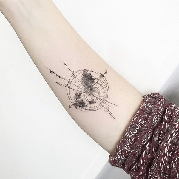 Perfect World Map Tattoo On arm For Girls