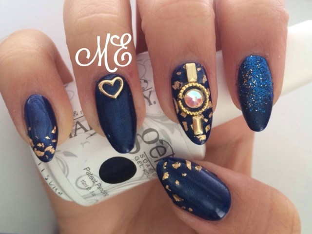 Popular Blue Nails With Golden Design