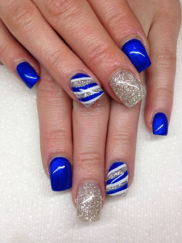 Unique Blue Nails With Stripes