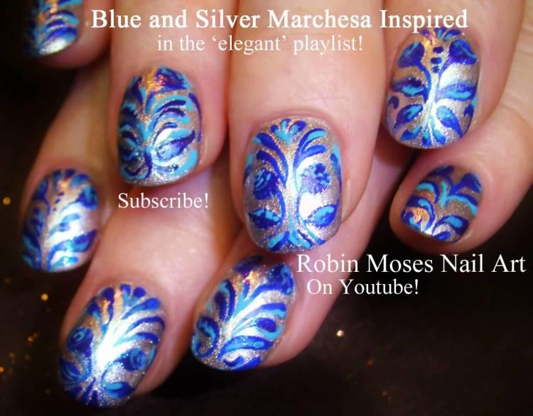 Sparkling Blue Nails