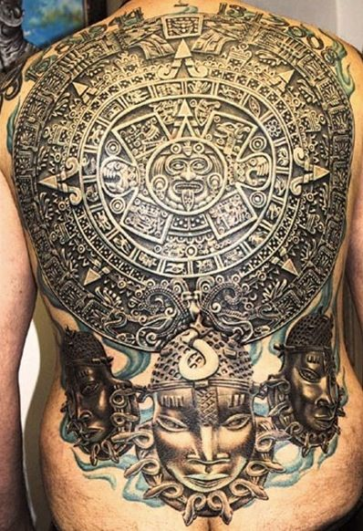 Sweet Aztec Tattoo on Full Back For Boys