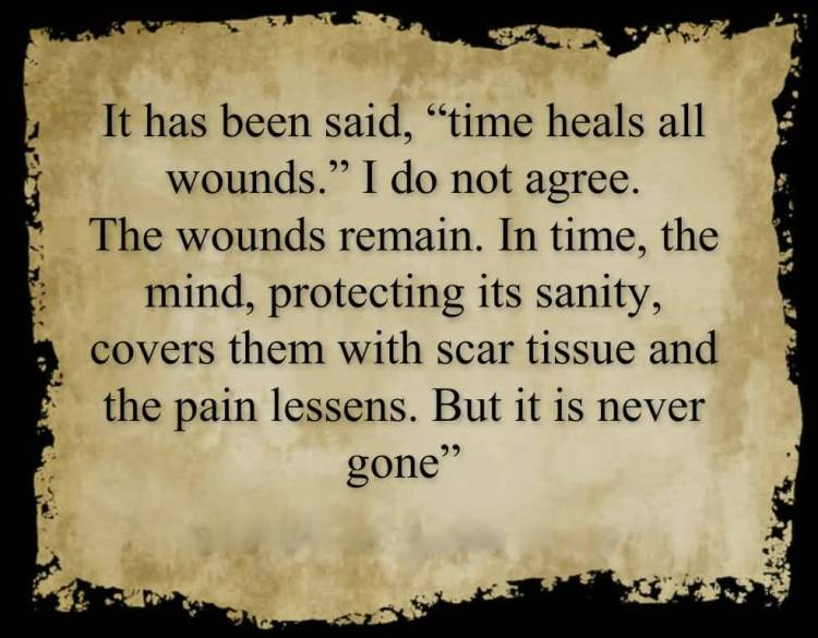 Time Sayings It has been said time heals all wounds i do not agree