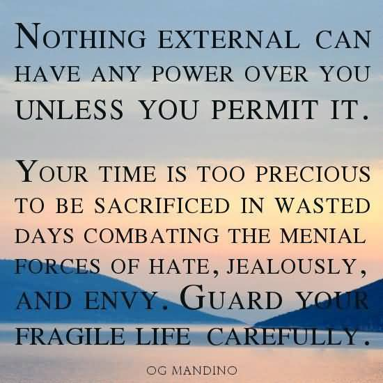 Time Sayings Nothing external can have any power over you unless you permit it Og Mandingo