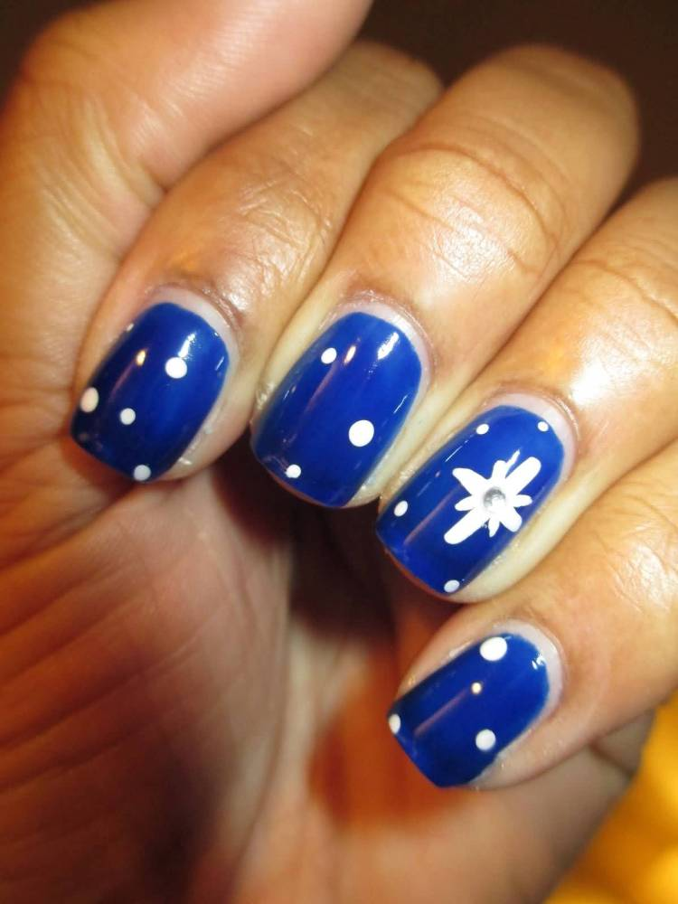 Tremendous Blue Nails With Polka Dot