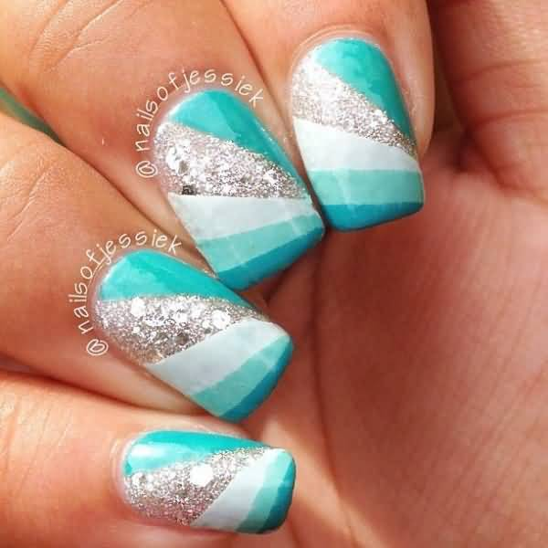 Tremendous Blue And Silver Nails With White Line
