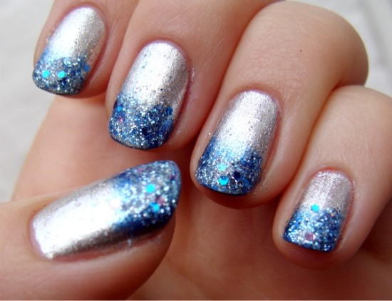 Tremendous Blue And Silver Nails