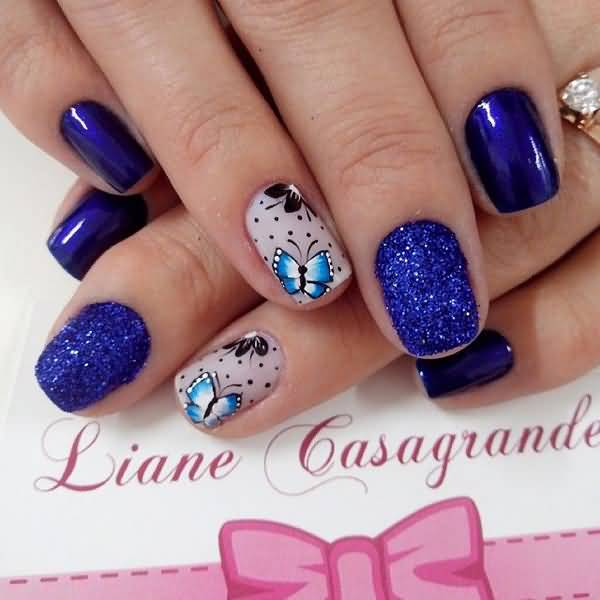 Trending Blue Nails With Bow And Butterfly